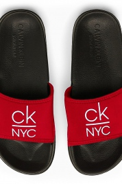 Pantofle KW0KW01054-XBG černočervená - Calvin Klein
