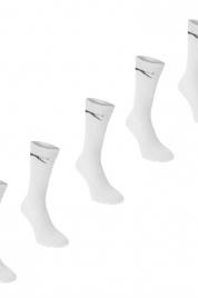 Unisex ponožky Slazenger P47730 balení 5ks - bílé s černým logem