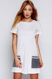 Dámská noční košilka Lou bílo-šedá - Sensis