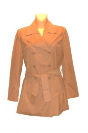 Dámský kabát s páskem FOL935297 - Camel