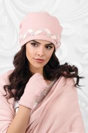 Dámský komplet šála + čepice model 163828 světle růžová - Kamea