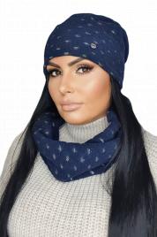 Dámský zimní set - čepice a šála - MIRIAM tmavě modrá - Kamea